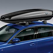 520 Liter Roof Box, Lockable - Black with Silver Accent and Roundel
