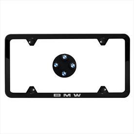 BMW Black Slimline Plate Frame and BMW Roundel Valve Stem Caps, Black