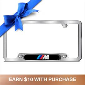 BMW Brushed M Logo Plate Frame, Black