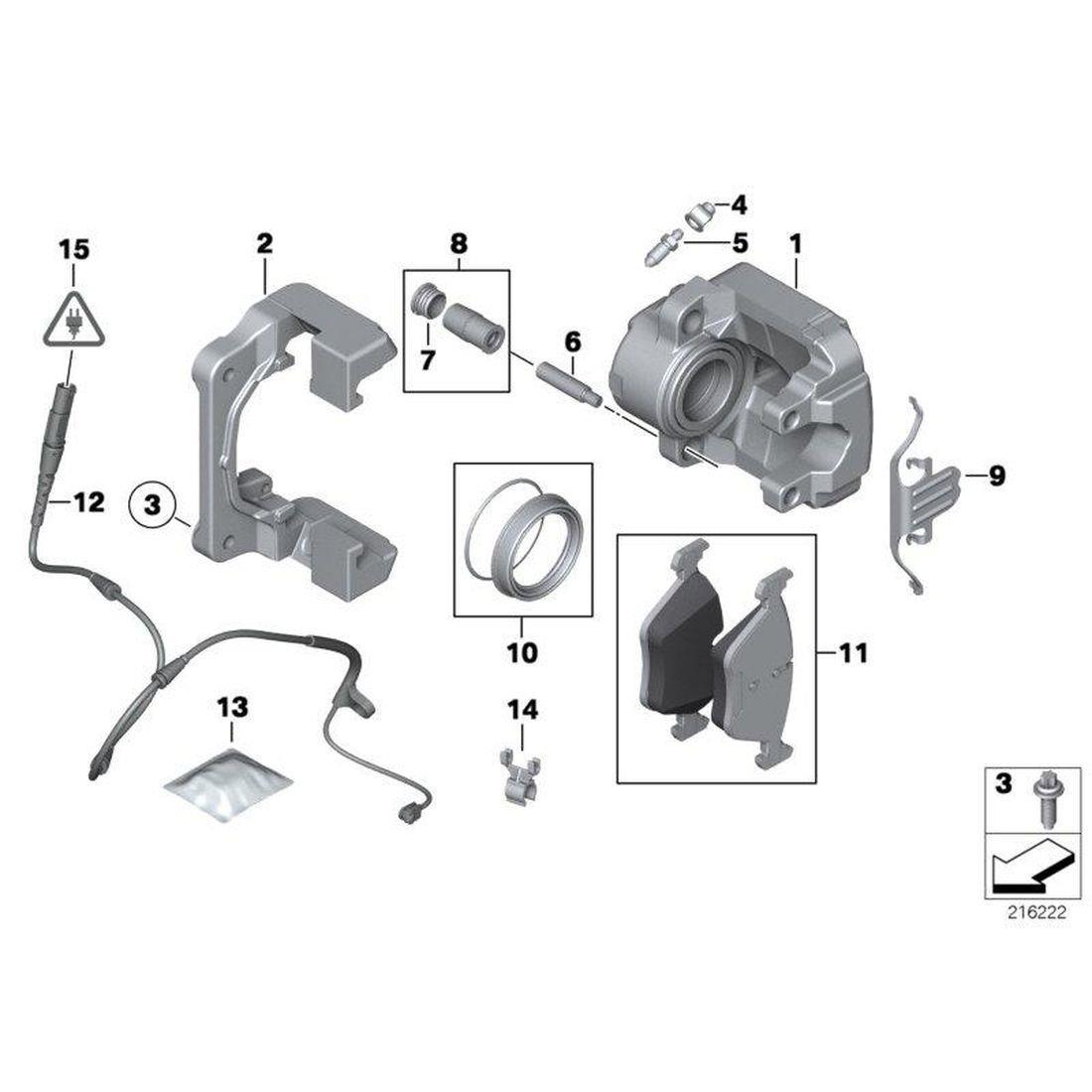 Brake pad wear sensor, front left