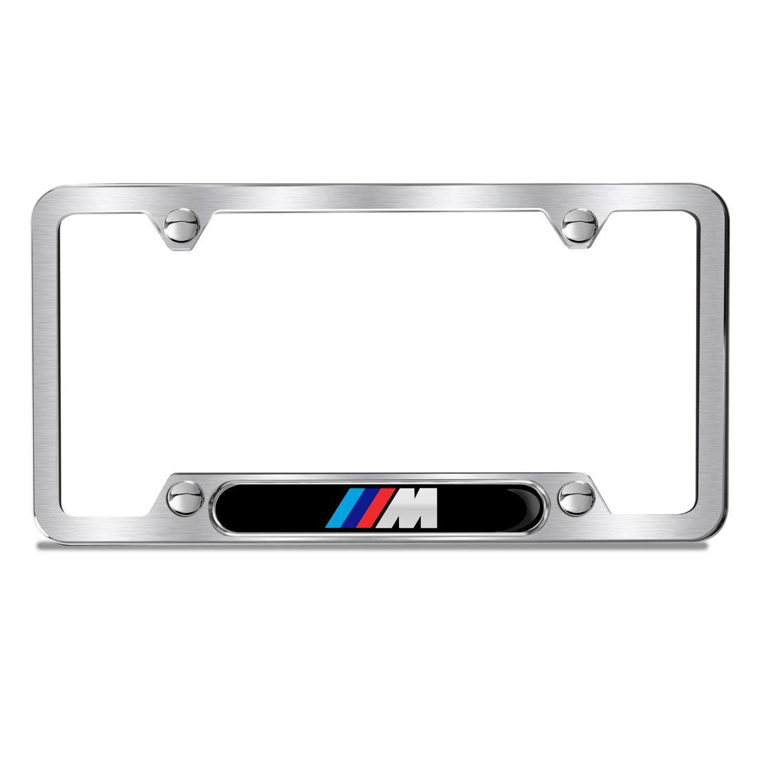 BMW Brushed M Logo Plate Frame, Black